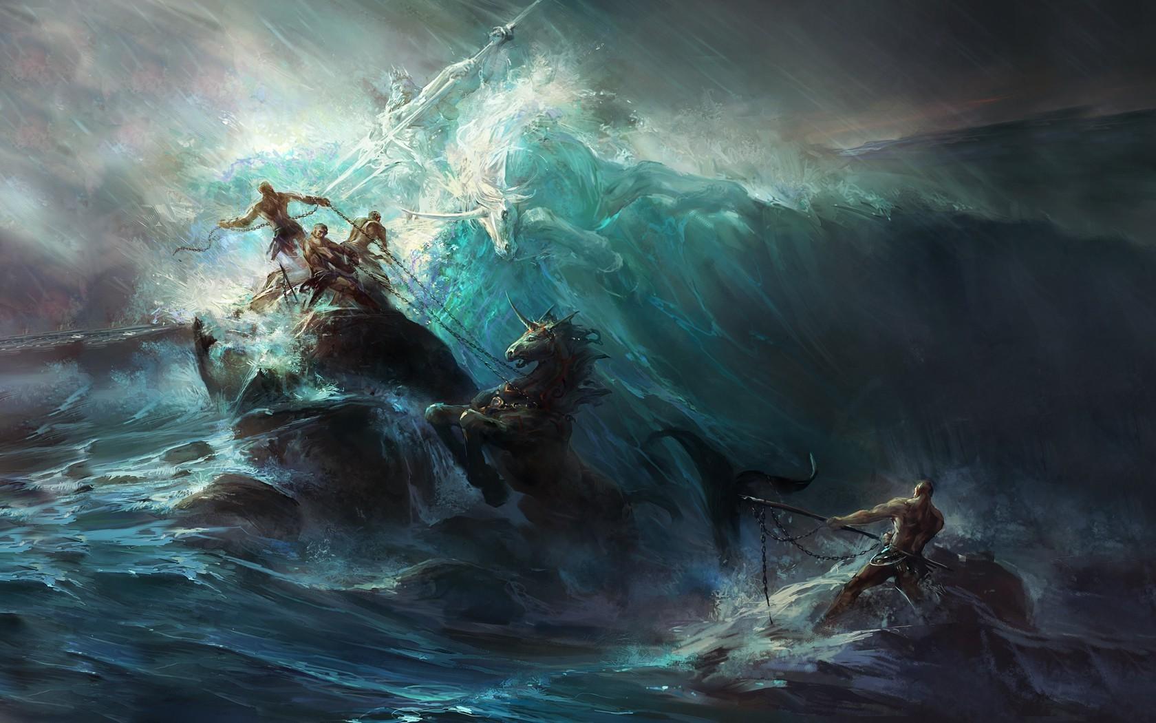 Falling In Reverse Wallpaper 1366x768 Fantasy Art Painting Artwork Poseidon Wallpapers Hd