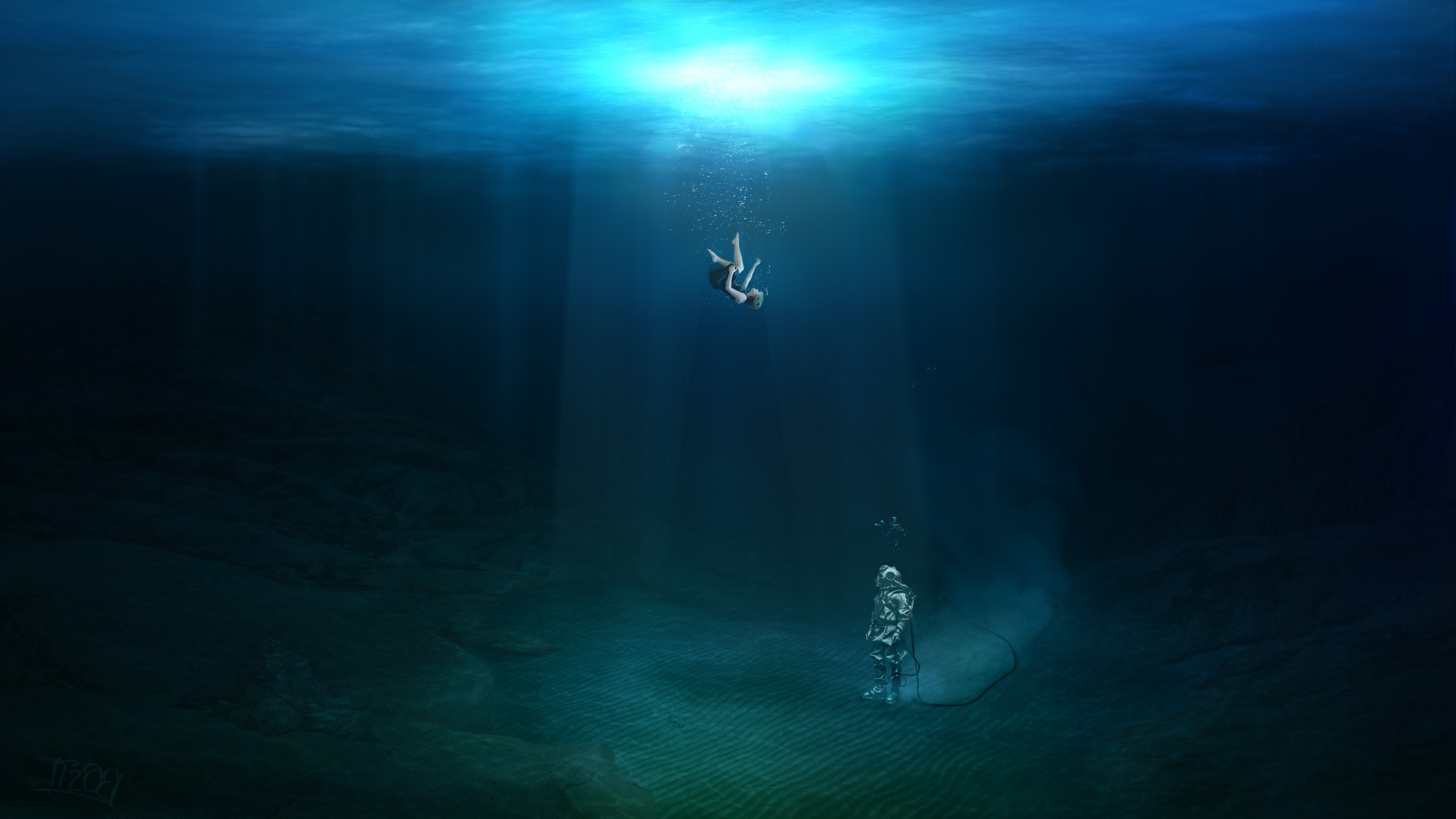 Naruto Girl Wallpaper Hd Fantasy Art Underwater Original Characters Falling