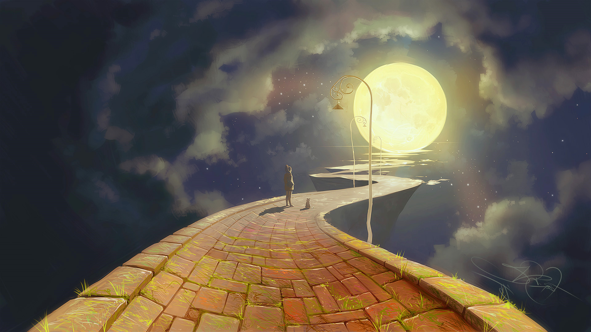 Street Light At Night Painting Moon Artwork Fantasy Art Path Cobblestone Street