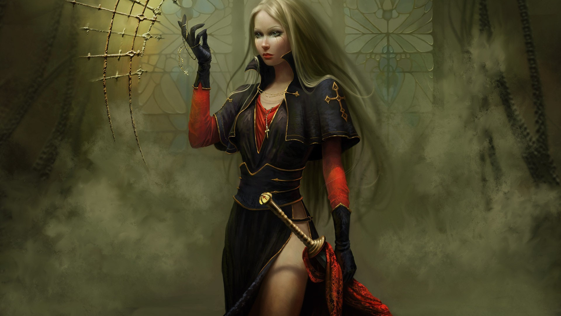 Spada Wonder Woman Women Blonde Long Hair Warrior Fantasy Art Digital