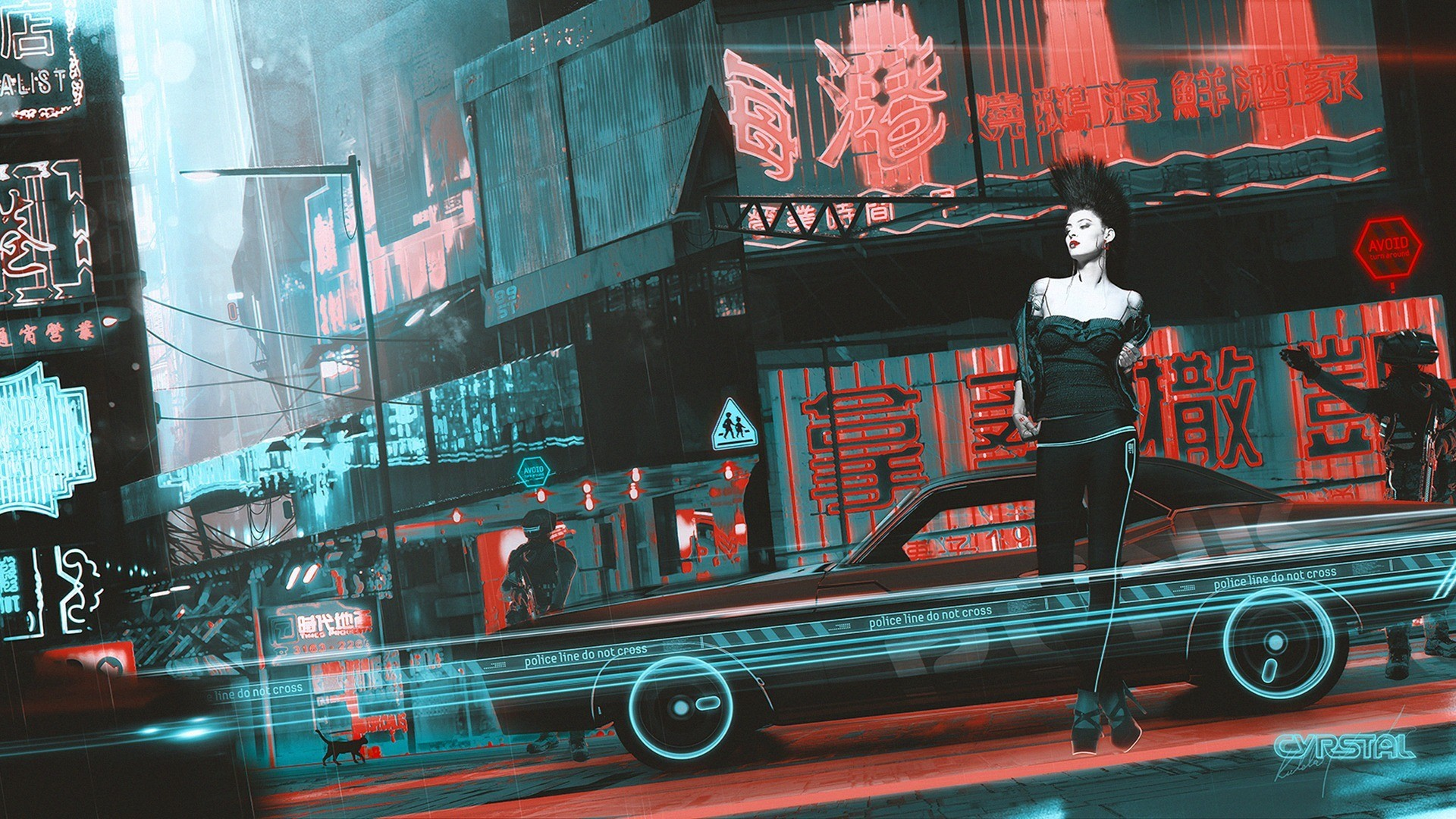 Car 5760x1080 Wallpaper Artwork Fantasy Art Cyberpunk Women China Town Kuldar