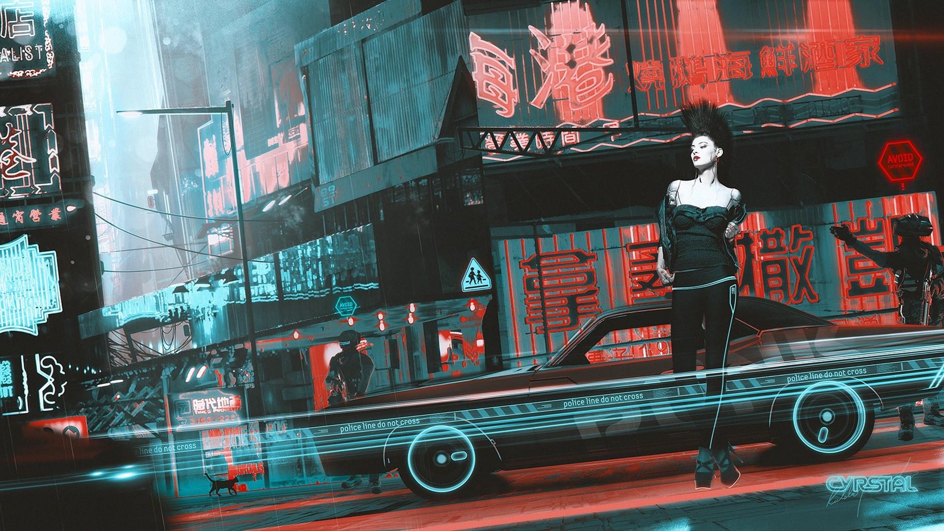 Car Wallpaper 1280x1024 Artwork Fantasy Art Cyberpunk Women China Town Kuldar