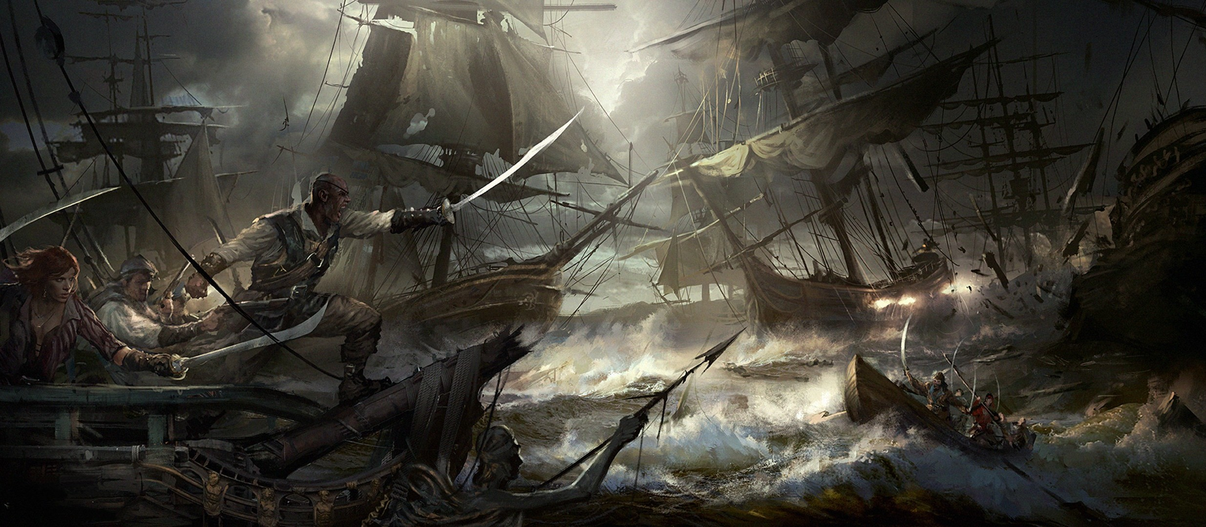Really Cool 3d Wallpapers Artwork Fantasy Art Ocean Battle Wallpapers Hd Desktop