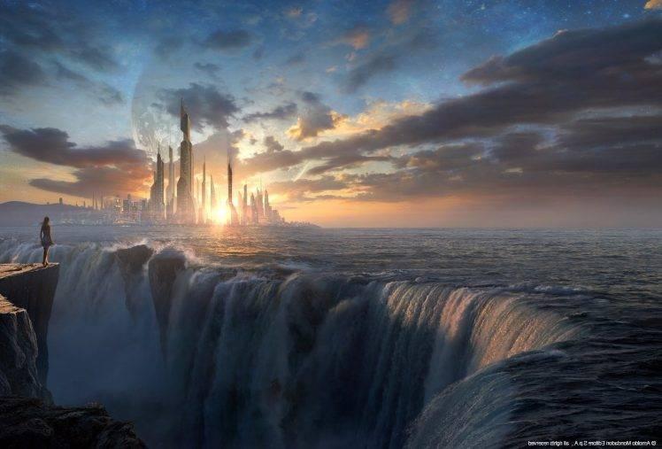 3d Wallpaper Widescreen Waterfalls Fantasy Art Sunset Waterfall Wallpapers Hd Desktop And