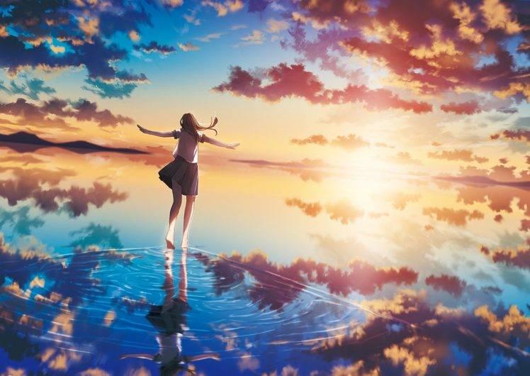 Happy Holidays Anime Girl Wallpaper 1920x1080 Sea Sunset Sun Clouds Original Characters Anime Girls