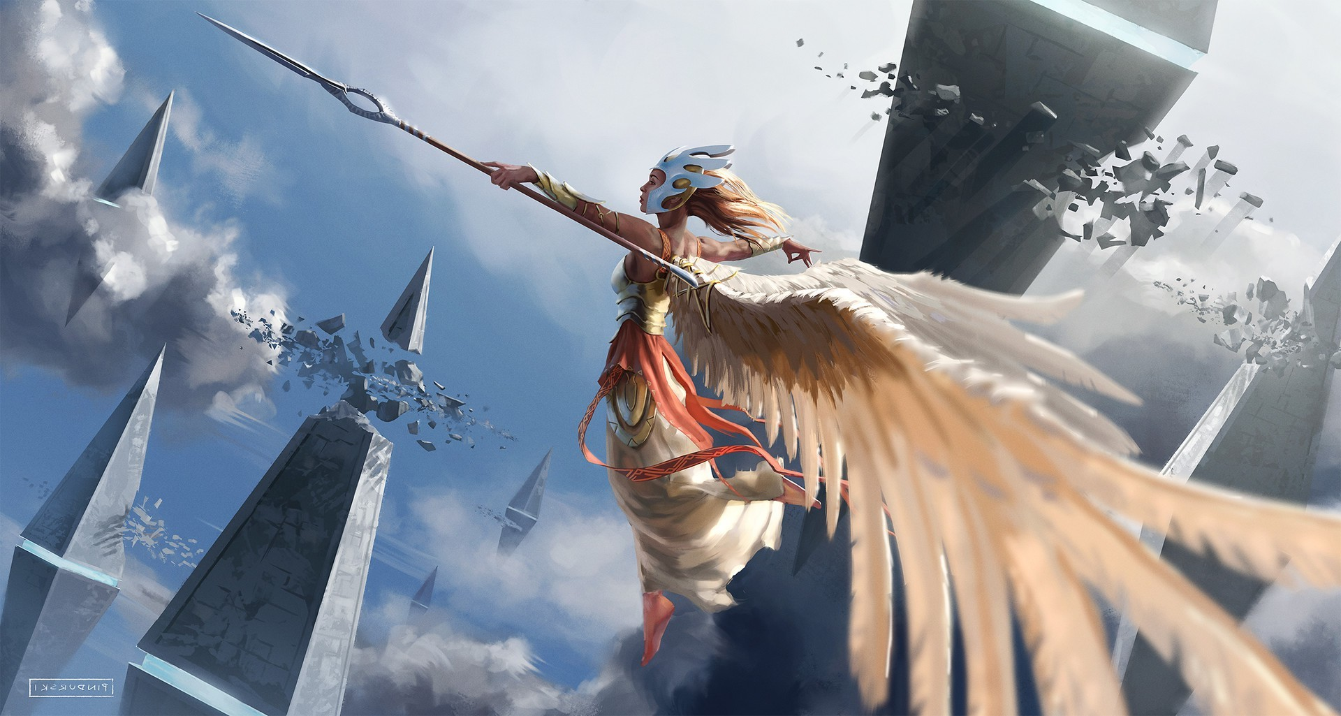 3d Dragon Wallpapers For Desktop Fantasy Art Spear Wings Flying Clouds Wallpapers Hd