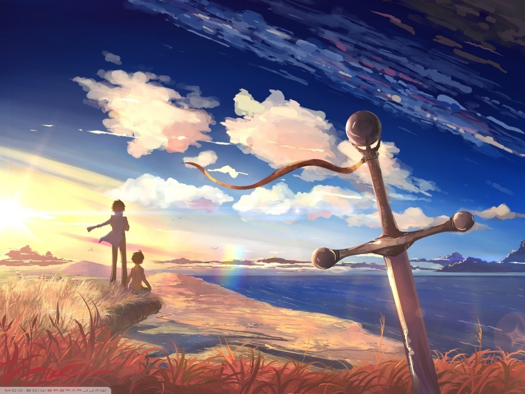 Cute Anime Boy Girl Phone Wallpaper Sword Couple Sky Anime Boys Anime Girls Sea Clouds
