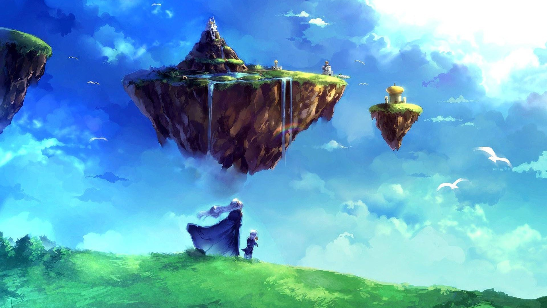One Piece New World Hd Wallpaper Anime Sky Nature Floating Island Chrono Trigger Janus