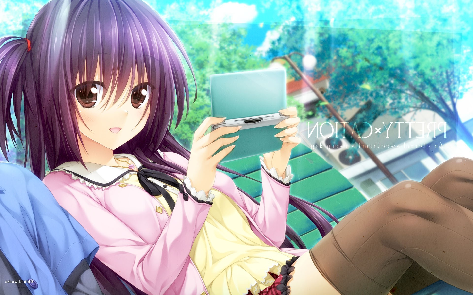 Girl Playing Games In Space 1600x900 Wallpaper Anime Girls Pretty X Cation 2 Thigh Highs Nintendo Ds
