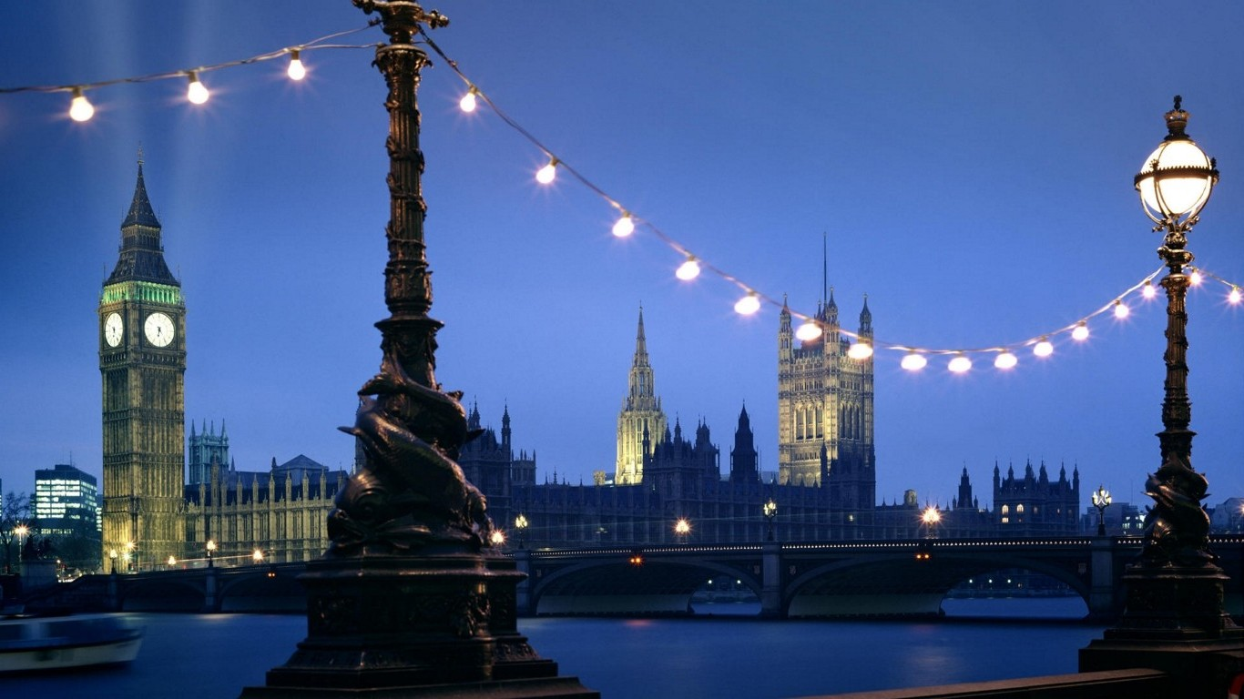 Wallpapers For Laptop Full Screen 3d London Light Bulb Statue Bridge Big Ben Uk River
