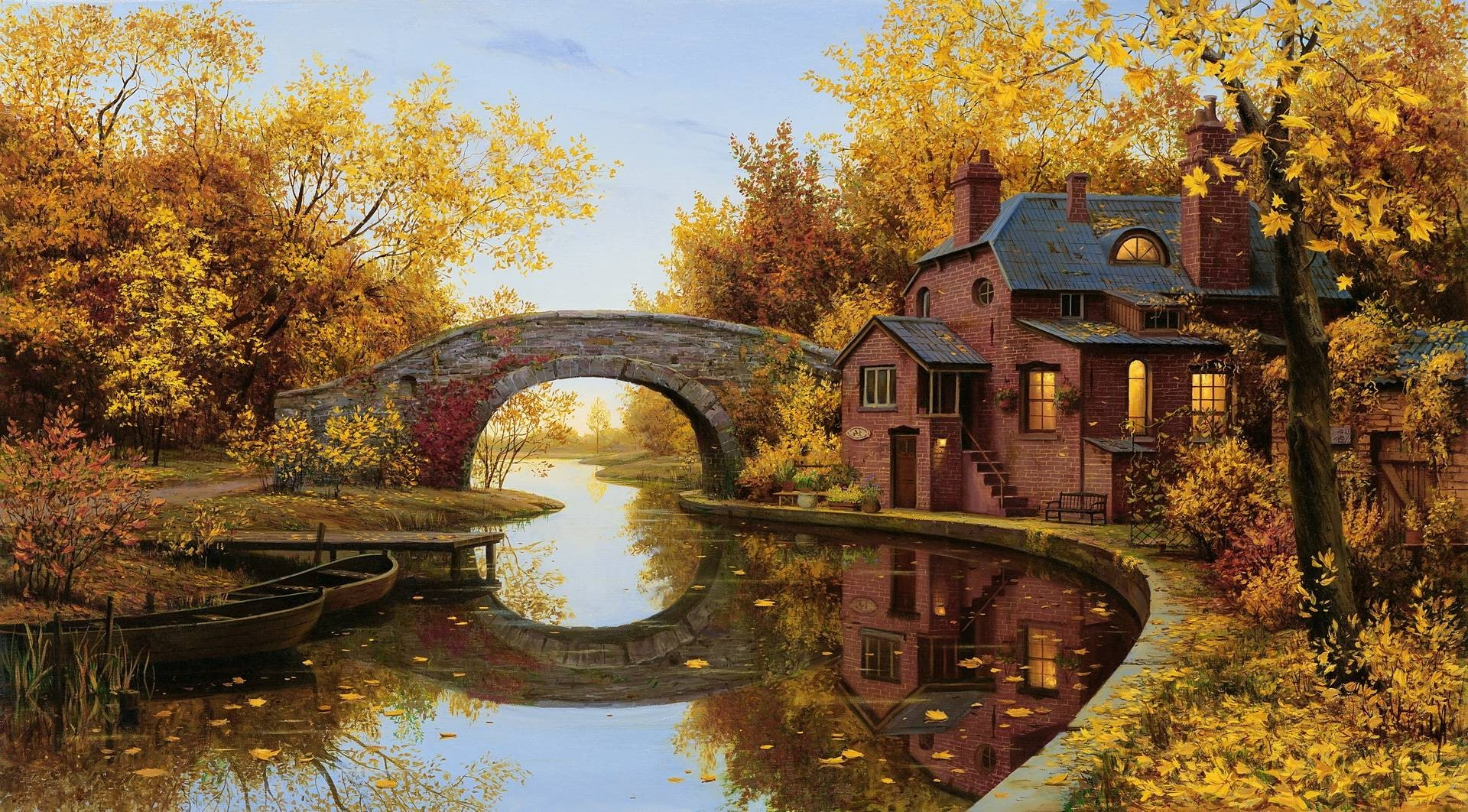 Full Screen Desktop Fall Leaves Wallpaper Reflection Bridge Arch River House Trees Boat Fall