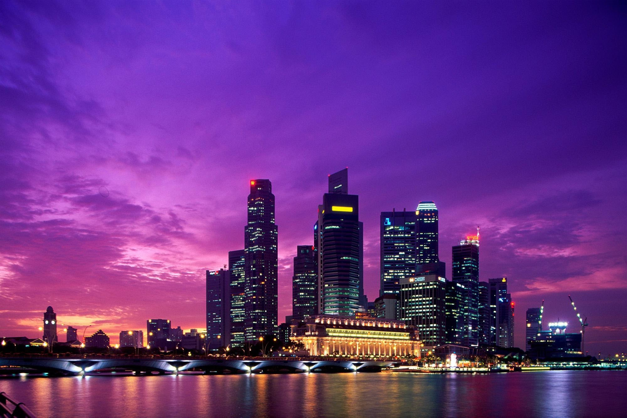 3d Wallpapers For Windows 8 Hd Free Download Singapore City Asian Architecture Dusk Skyscraper