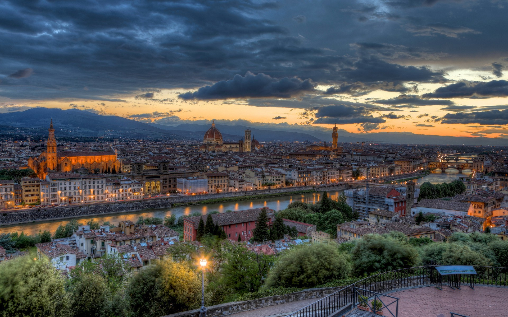3d Wallpaper Hd For Home Wall City Cityscape River Bridge Florence Italy Sunset