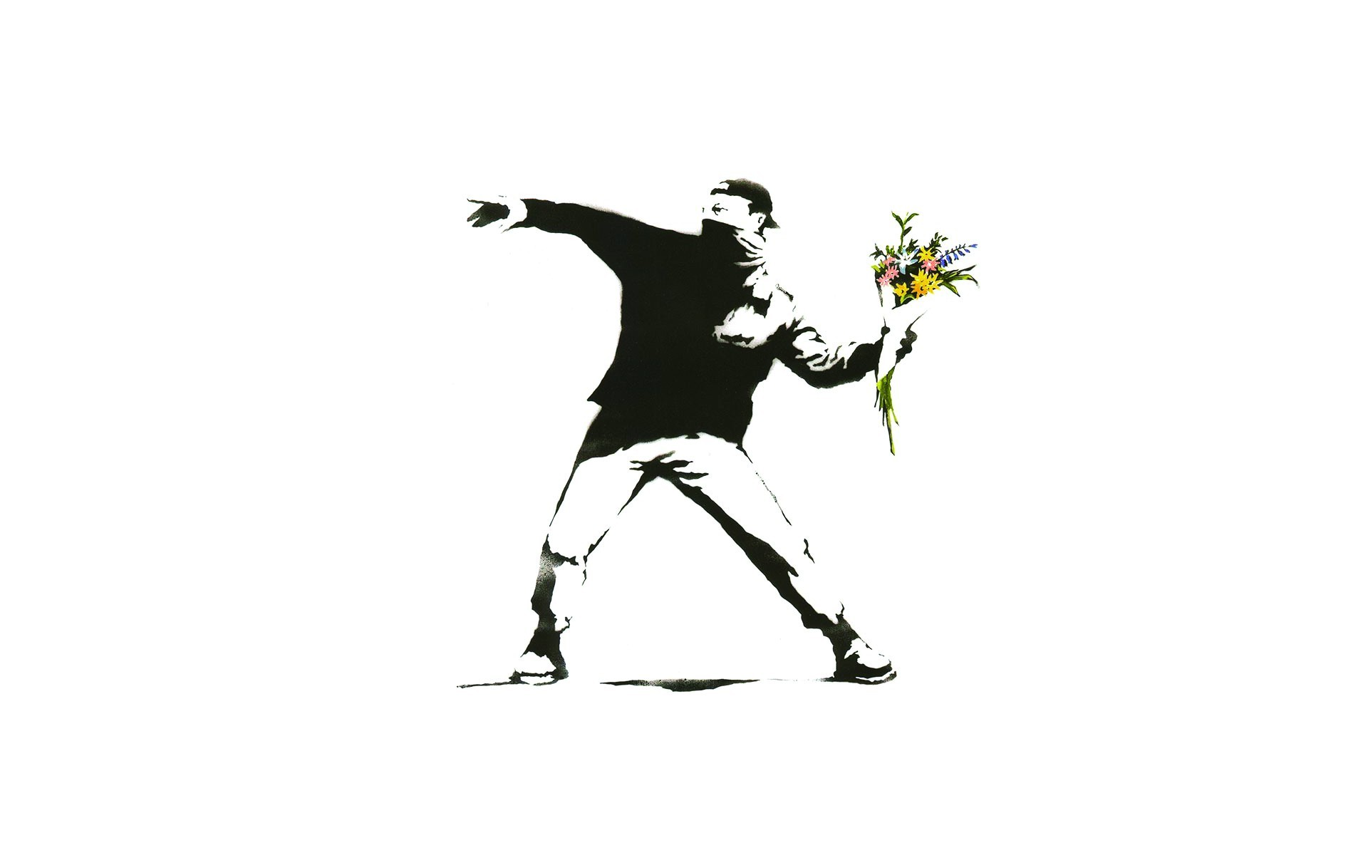 Green Animal Print Wallpaper Minimalism White Background Banksy Graffiti Men