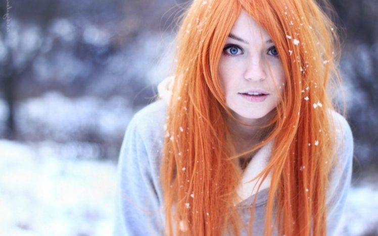 Pretty Pastel Anime Girl Wallpaper Women Orange Hair Blue Eyes Snow Blurred Marina