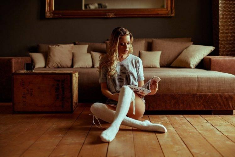 Knee High Socks Girl Wallpaper Women Model Blonde Long Hair Women Indoors Legs Wavy