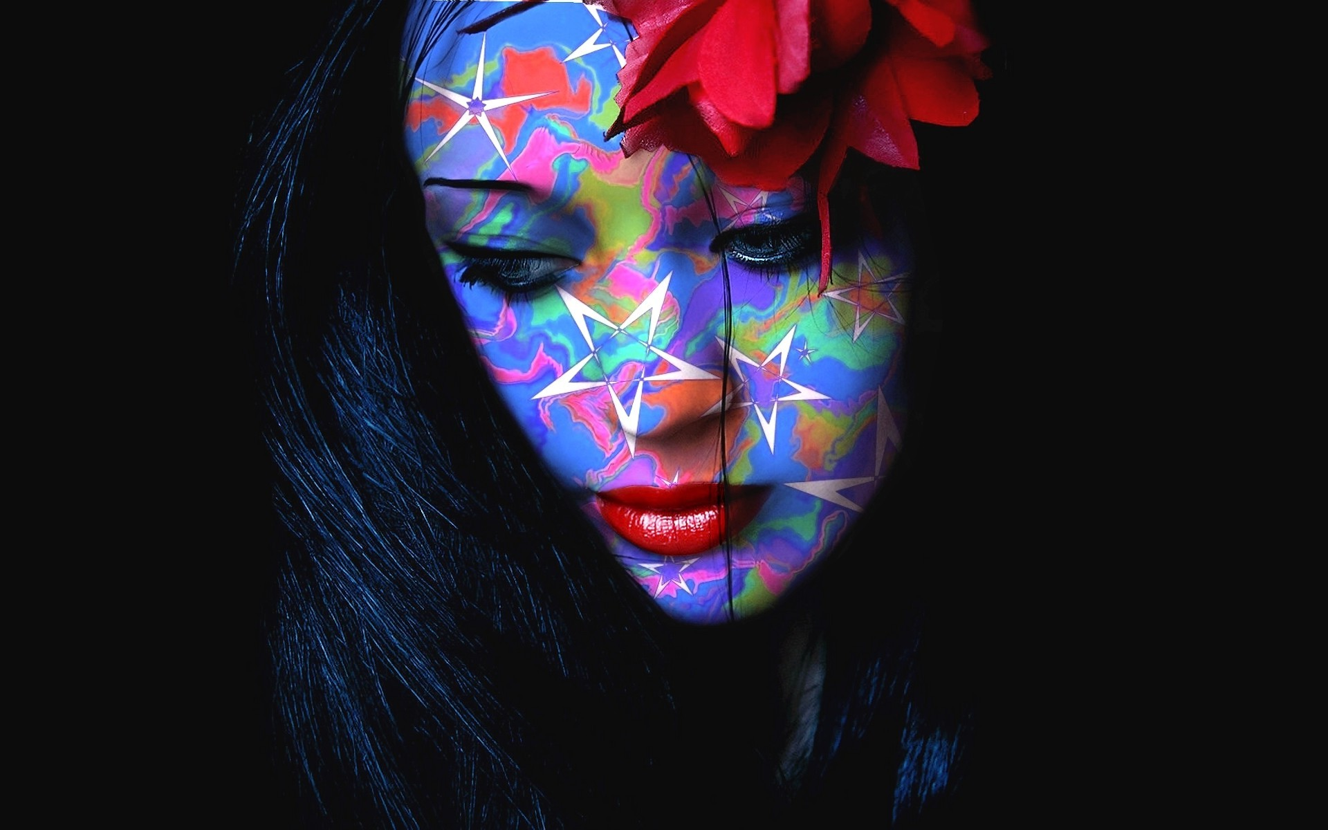 Holi Wallpaper 3d Women Face Looking Down Colorful Flower In Hair Red