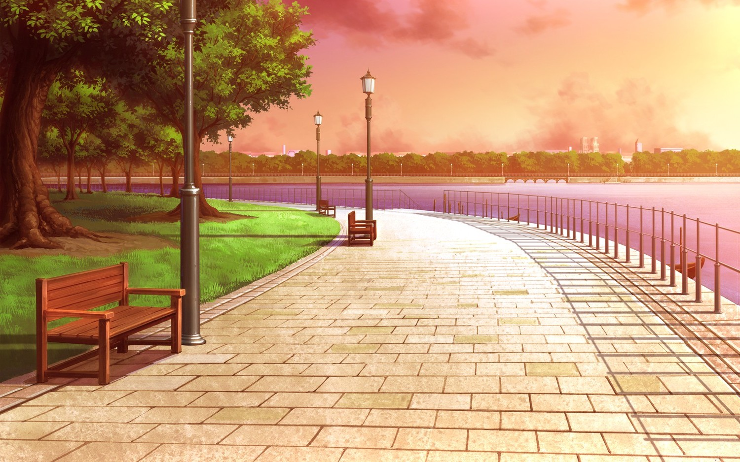 3d Wallpapers For Spring City River Trees Bench Street Light Wallpapers Hd