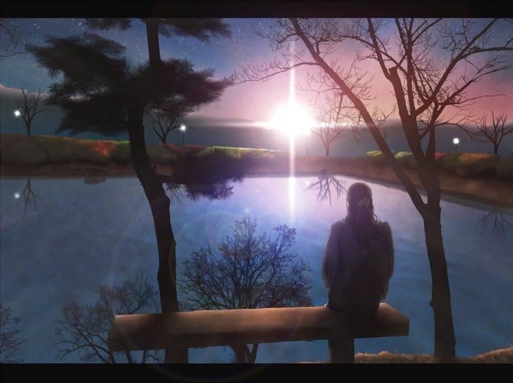 Sad Alone Girl Hd Wallpaper Download Anime Anime Girls Sitting Alone Lake Sunset Original