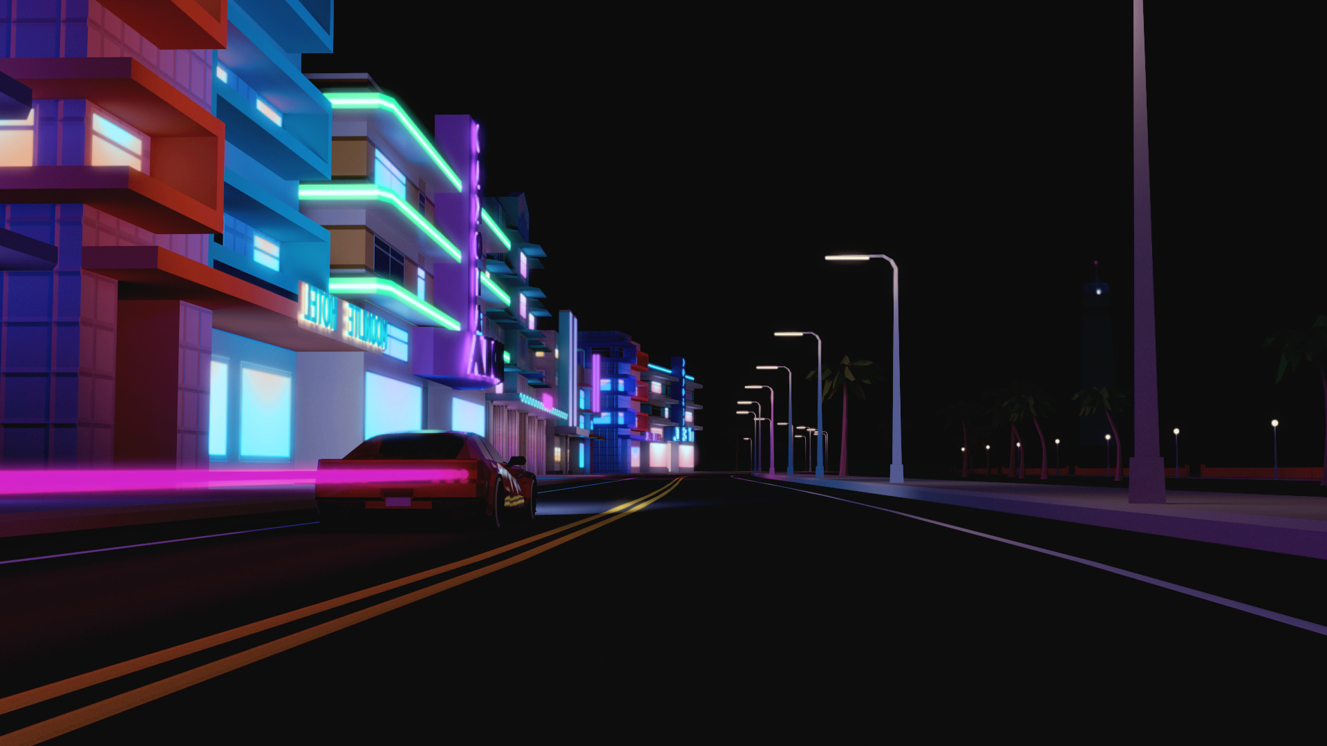 Hotline Miami Car Wallpaper City Urban Street Car Cgi Render Building Night