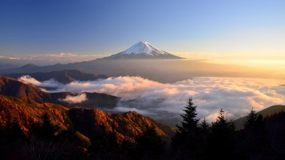 Mount Fuji, Clouds, Trees, Sky, Nature, Landscape, Mist, Sunlight, Top View Wallpapers HD ...