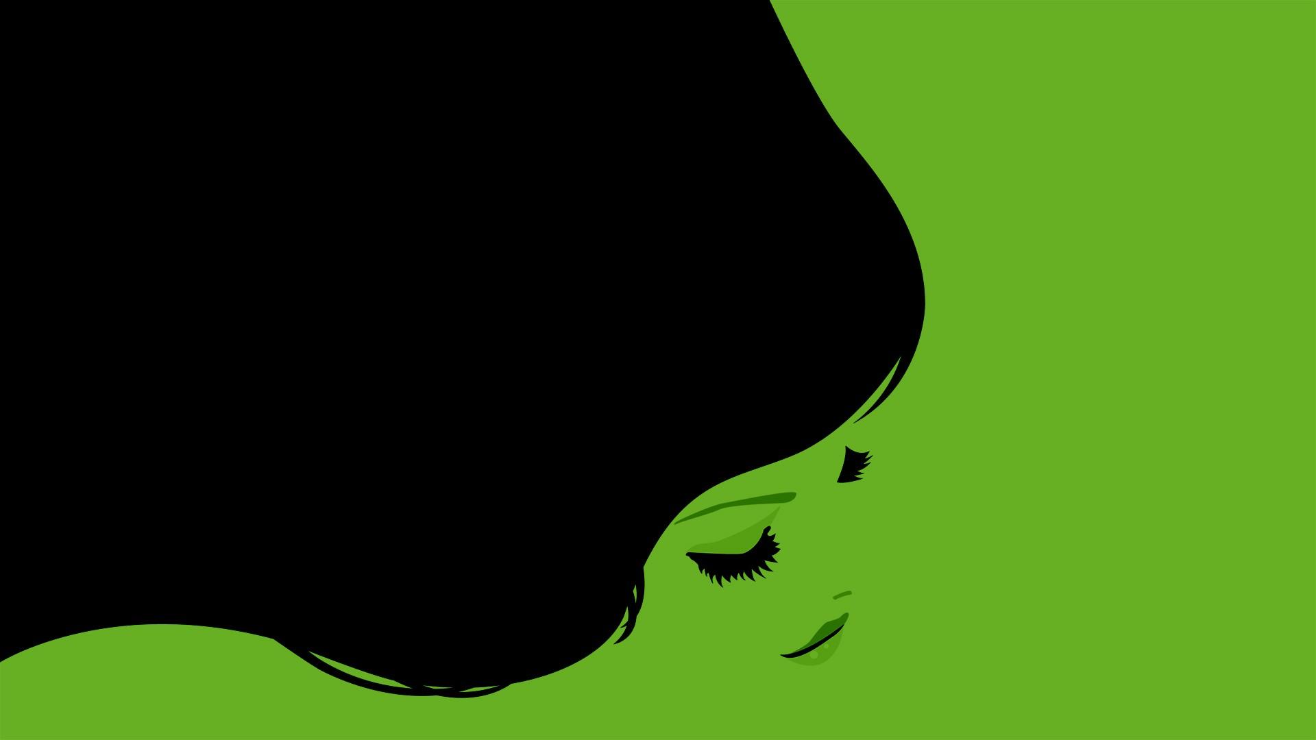3d Graphic Wallpaper 1280x1024 Minimalism Simple Background Green Background Dark Hair