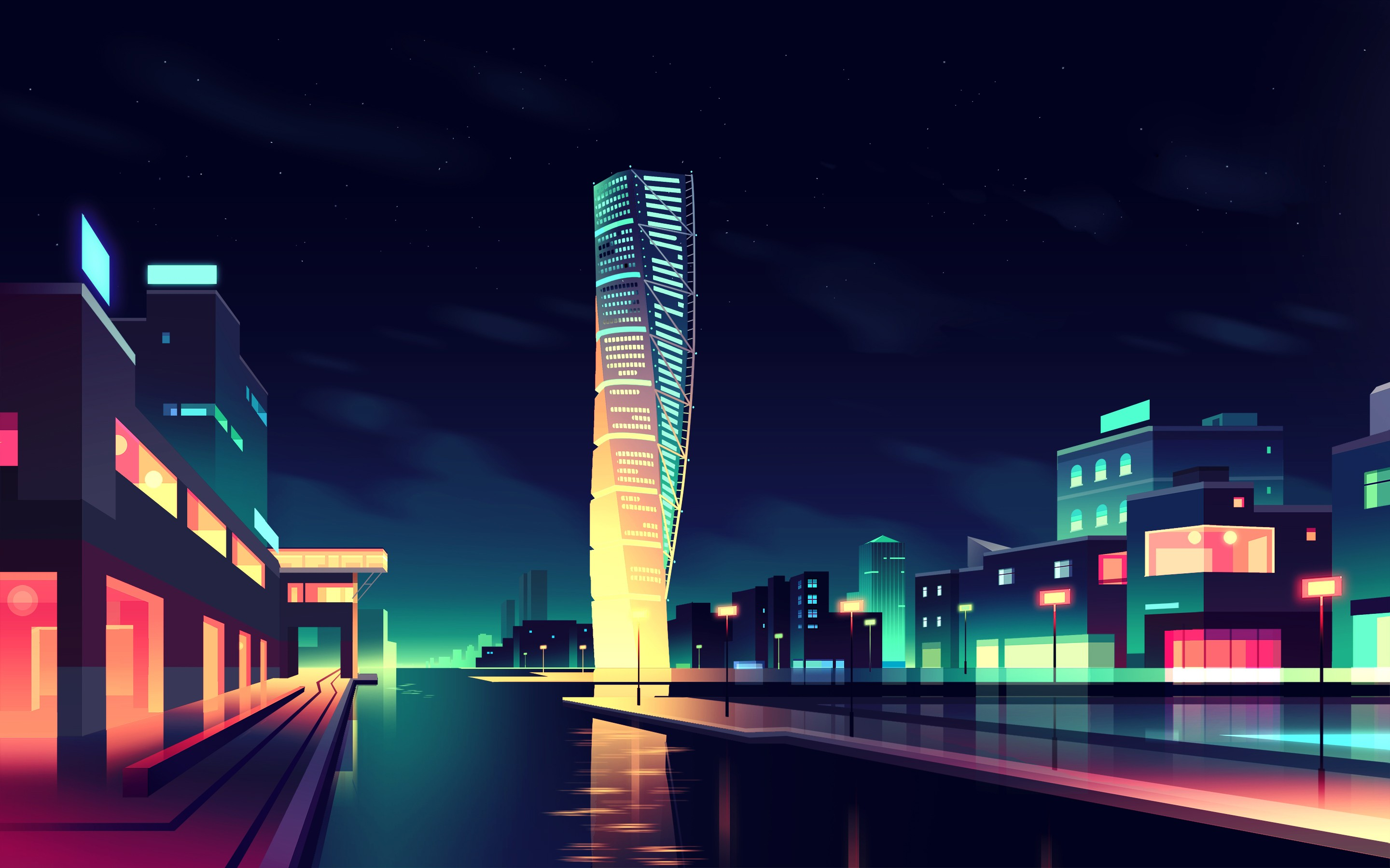 Street Light At Night Painting Cityscape Night Lights Building Reflection Digital