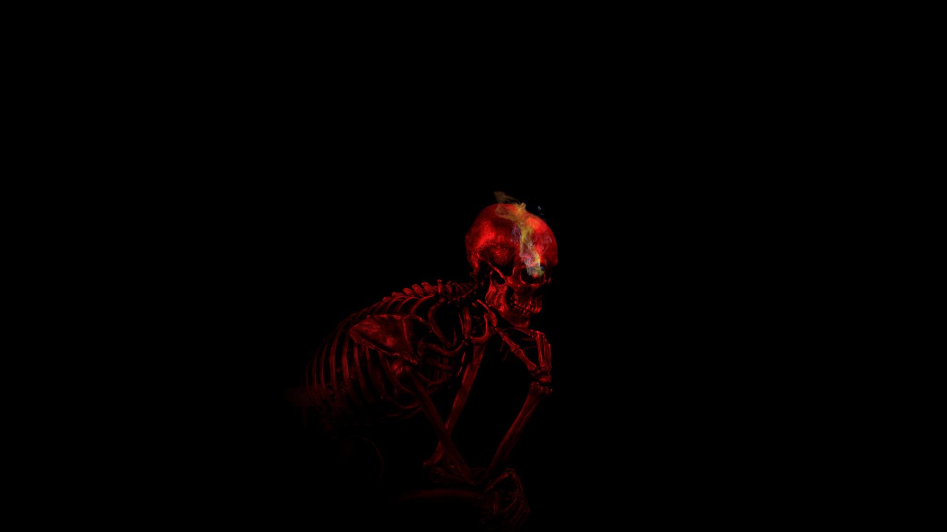 Cool Animated Pubg Wallpapers Thinking Ribs Teeth Auguste Rodin Digital Art Skull