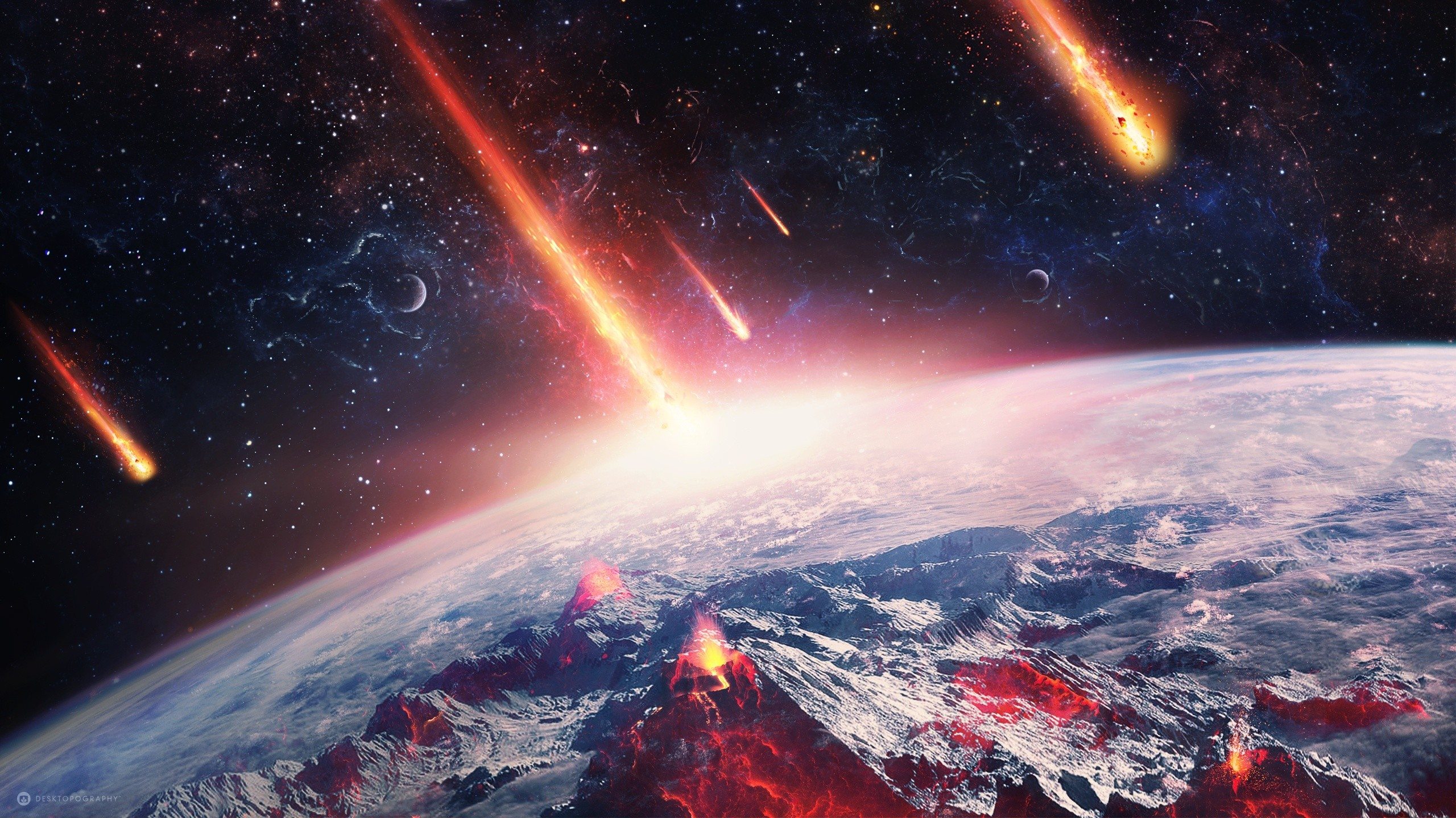 Hd Wallpapers Fire Cars Asteroid World Space Desktopography Fire Volcano