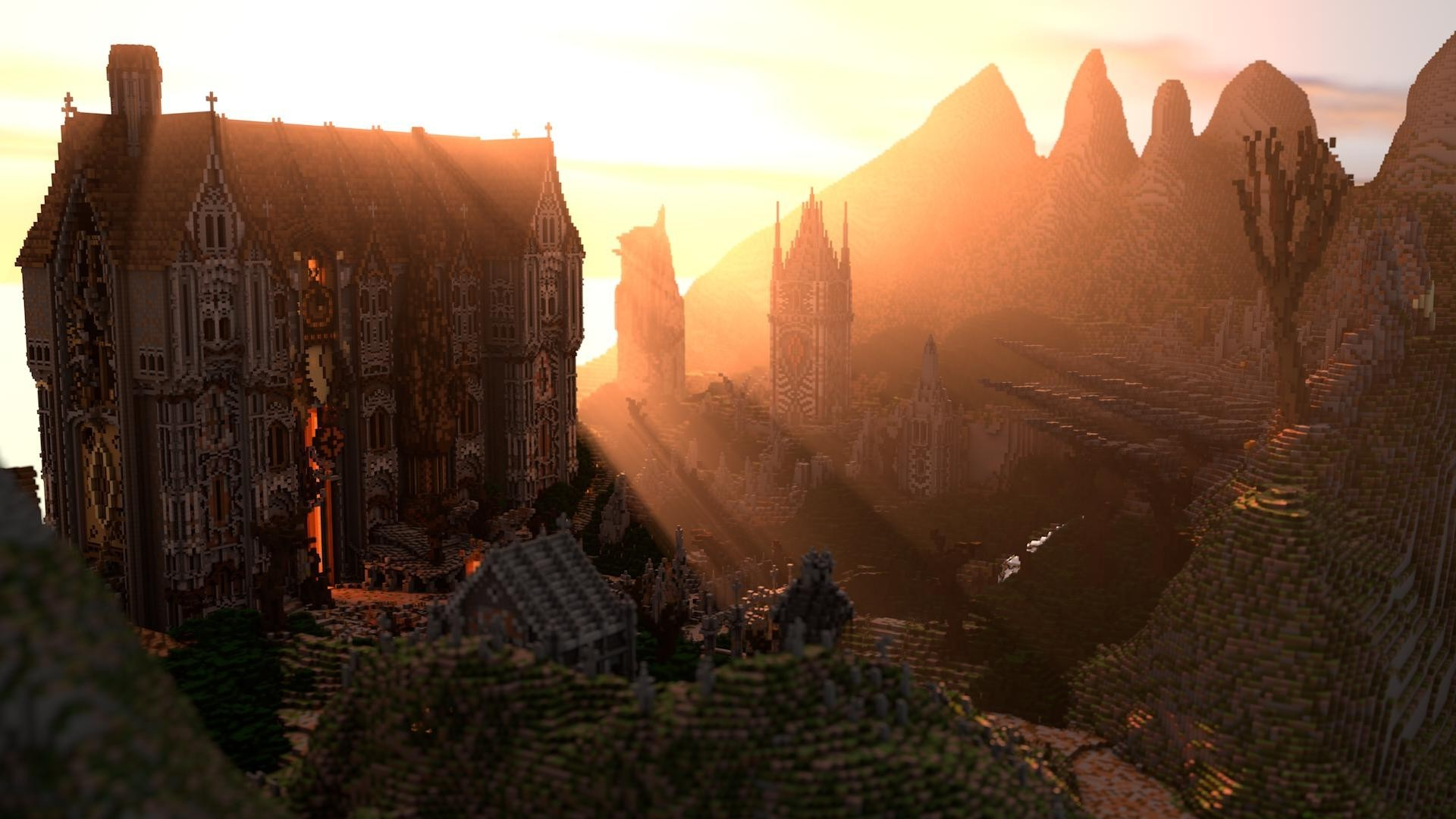Minecraft Wallpaper 3d Minecraft Render Screenshots Mansions Sunset