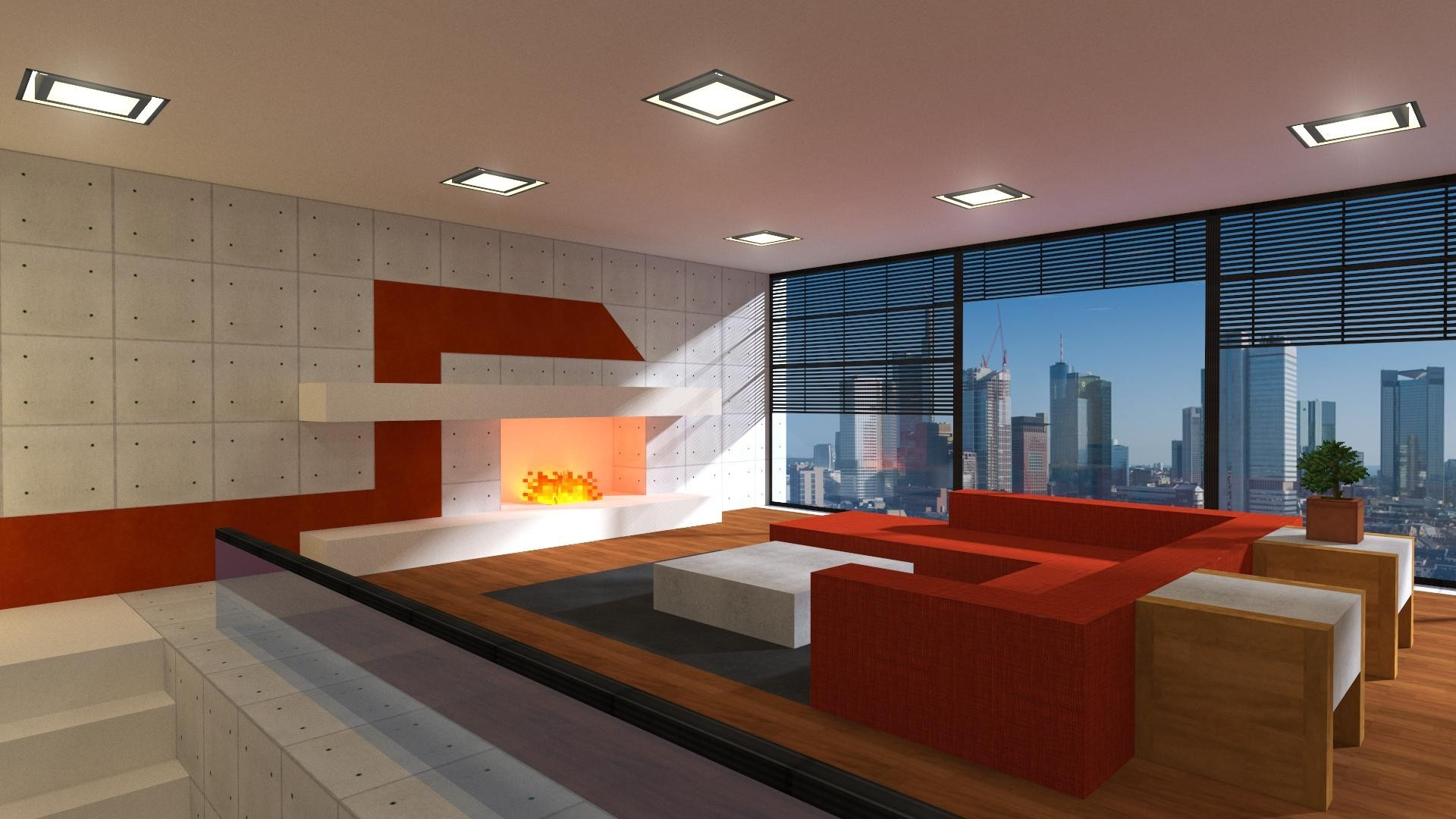 Fireplace 3d Wallpaper Minecraft Render Apartments Fireplace Window