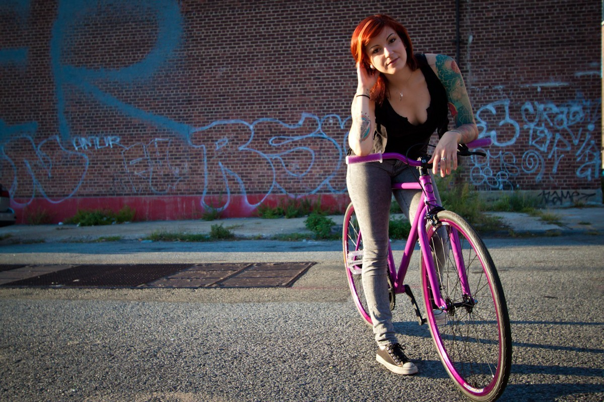 Retro Anime Girl Wallpaper Model Women Cleavage Redhead Fixed Gear Fixie