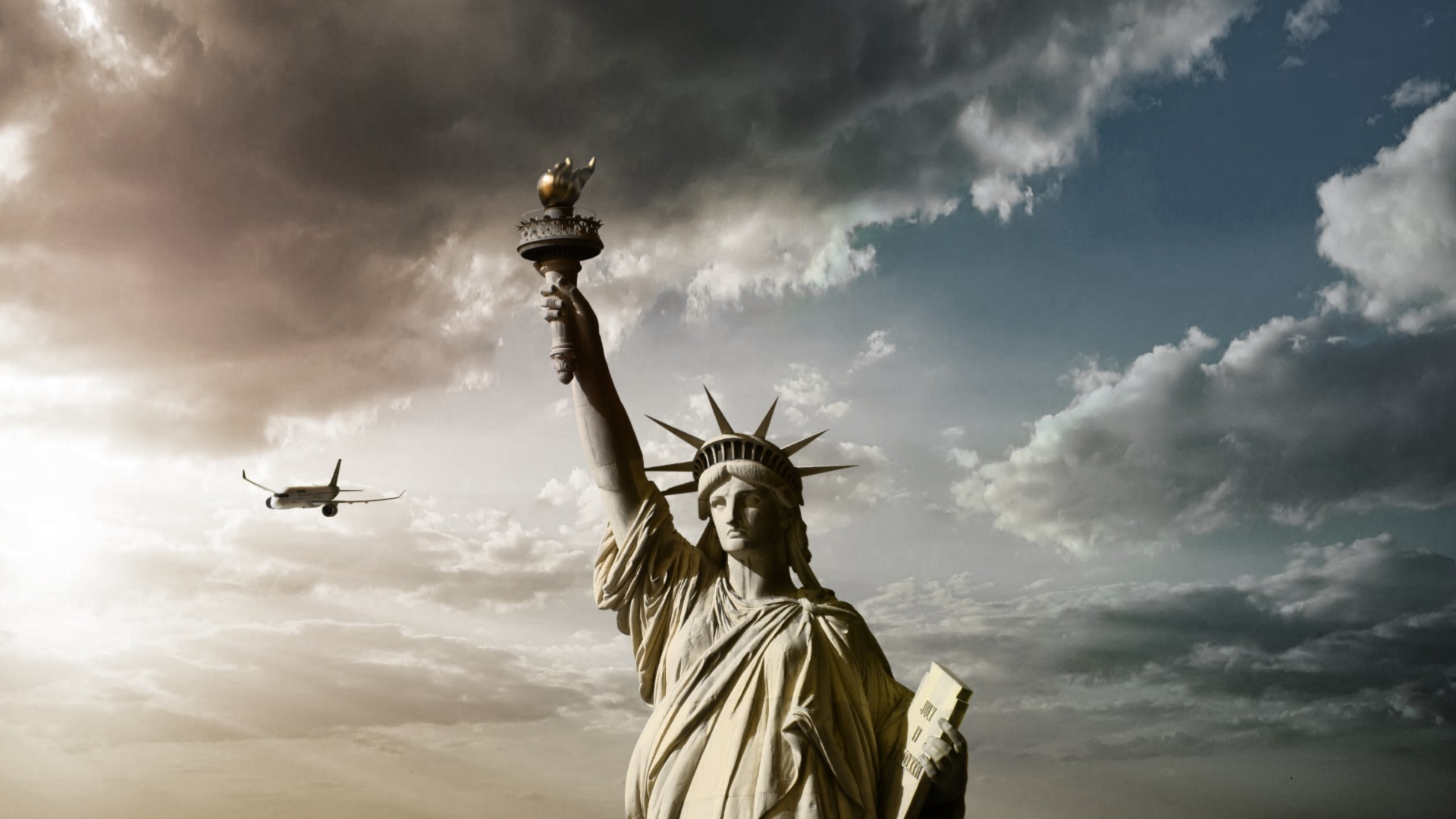 Jesus 3d Wallpapers For Mobile Statue Of Liberty Clouds Airplane Statue Wallpapers Hd