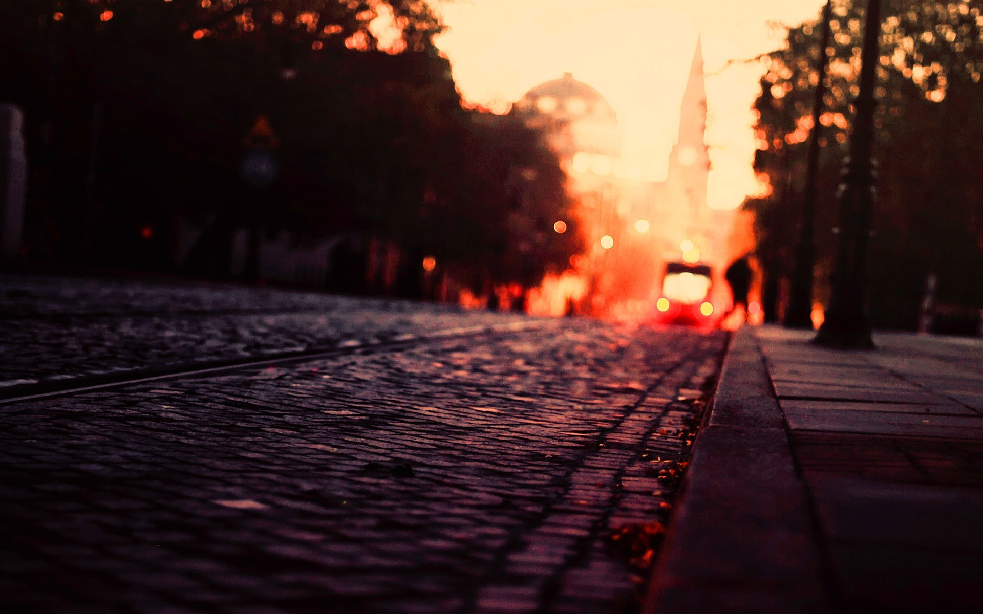1920x1080 Fall Urban Wallpaper Urban City Warm Colors Fall Road Tram Cobblestone