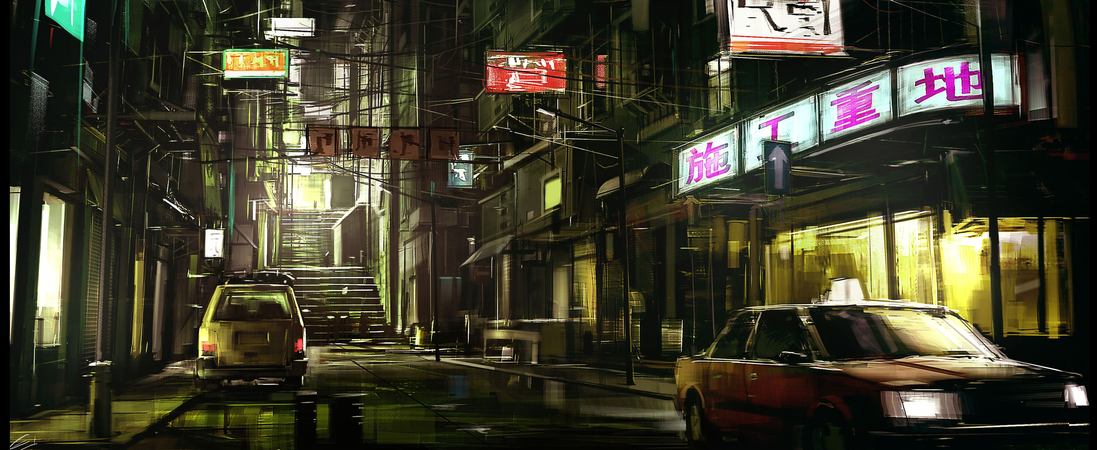 Car 5760x1080 Wallpaper Night Cityscape Japan Car Artwork Street Wallpapers