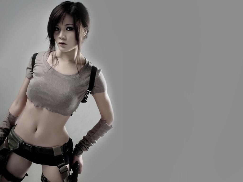 3d Beautiful Girl Wallpaper Hd Lara Croft Belly Cosplay Asian Tomb Raider Wallpapers