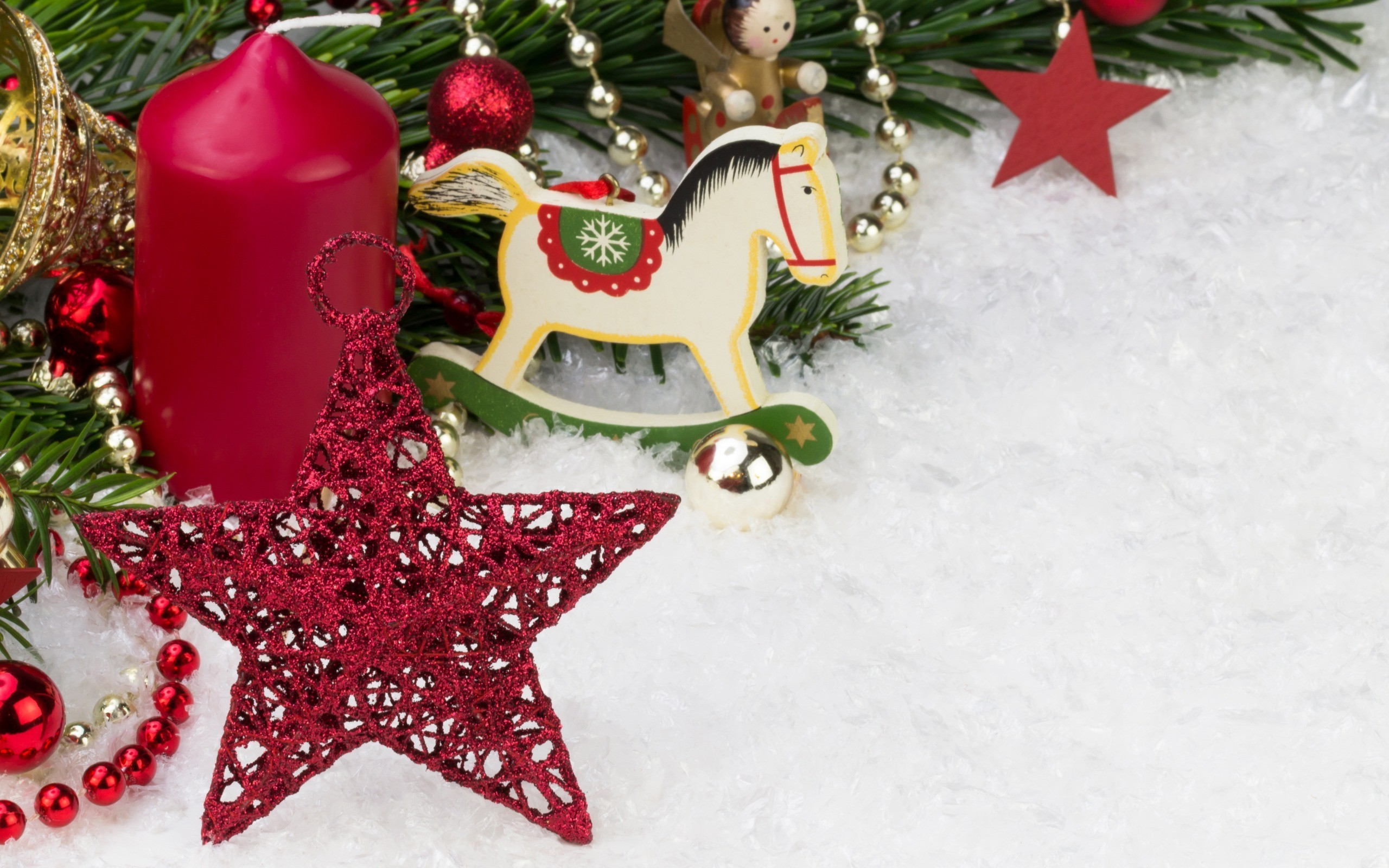 Download Happy New Year D New Year Snow Horse Decorations Stars Candles Christmas