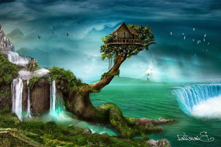 Desktop Wallpaper Fall Water Fantasy Art Artwork Digital Art Pixelated Science Fiction