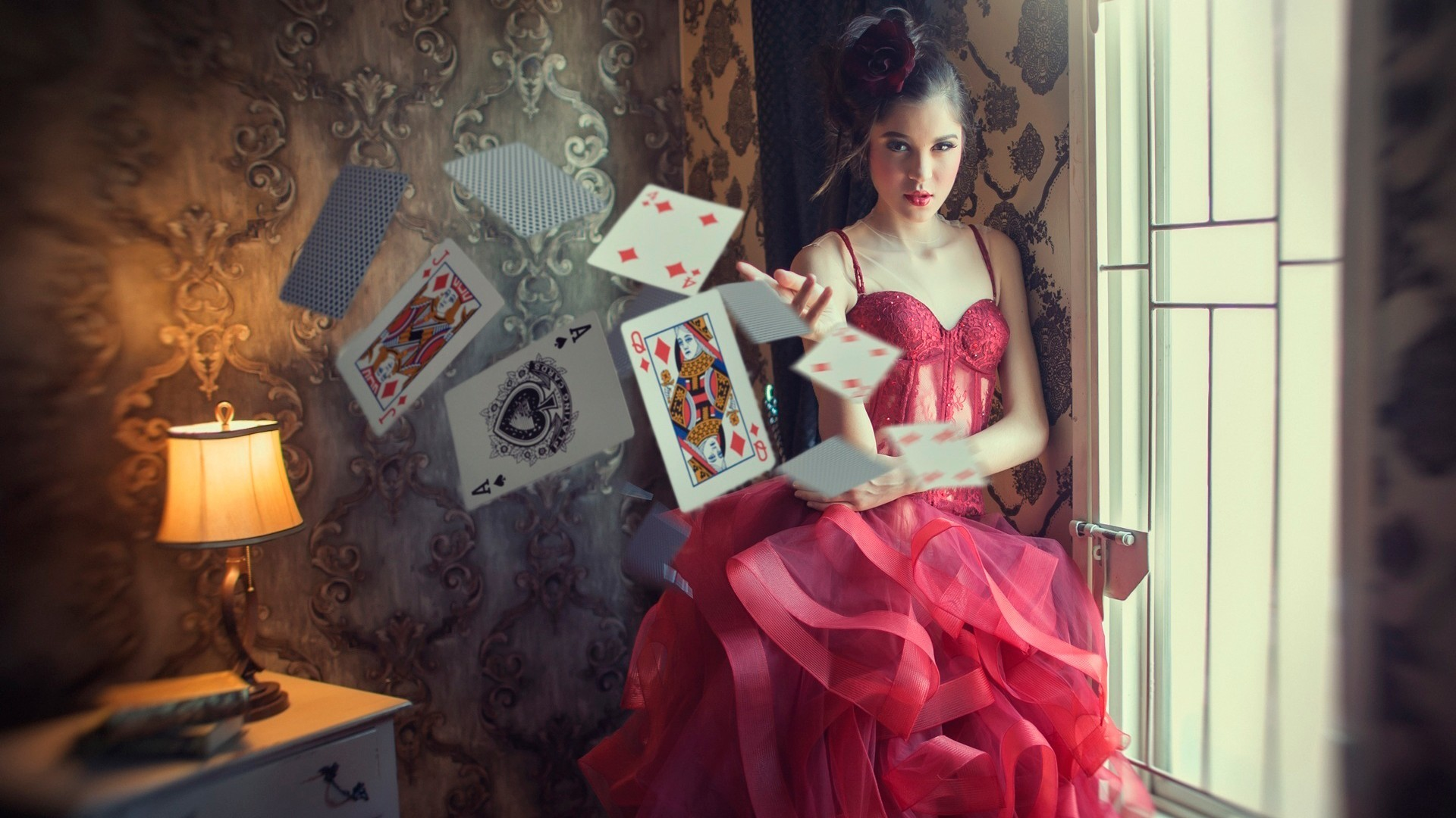Anime Girl Playing Game Wallpaper Photography Red Dress Room Playing Cards Ace Of Spades