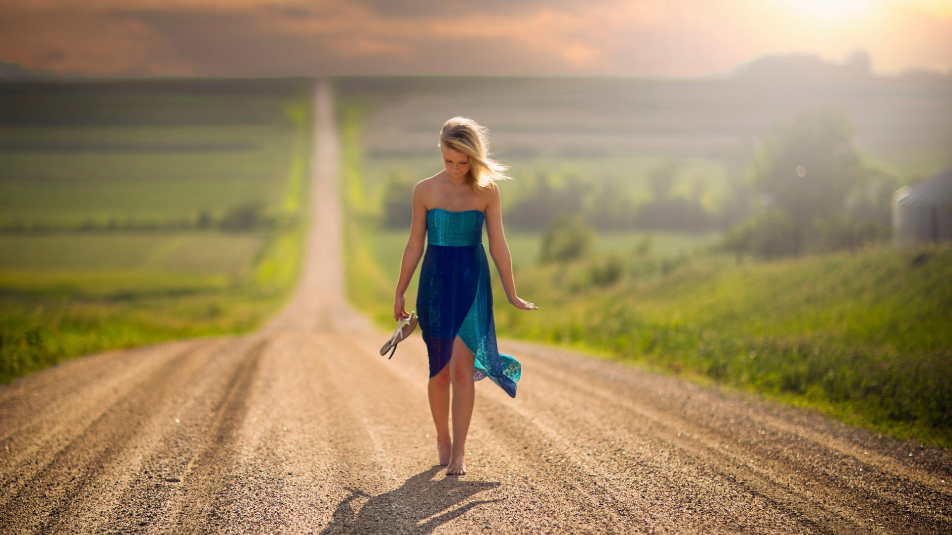 3840x1080 Hd Wallpapers Sad Quote Women Blonde Road Nature Landscape Barefoot Nebraska Jake