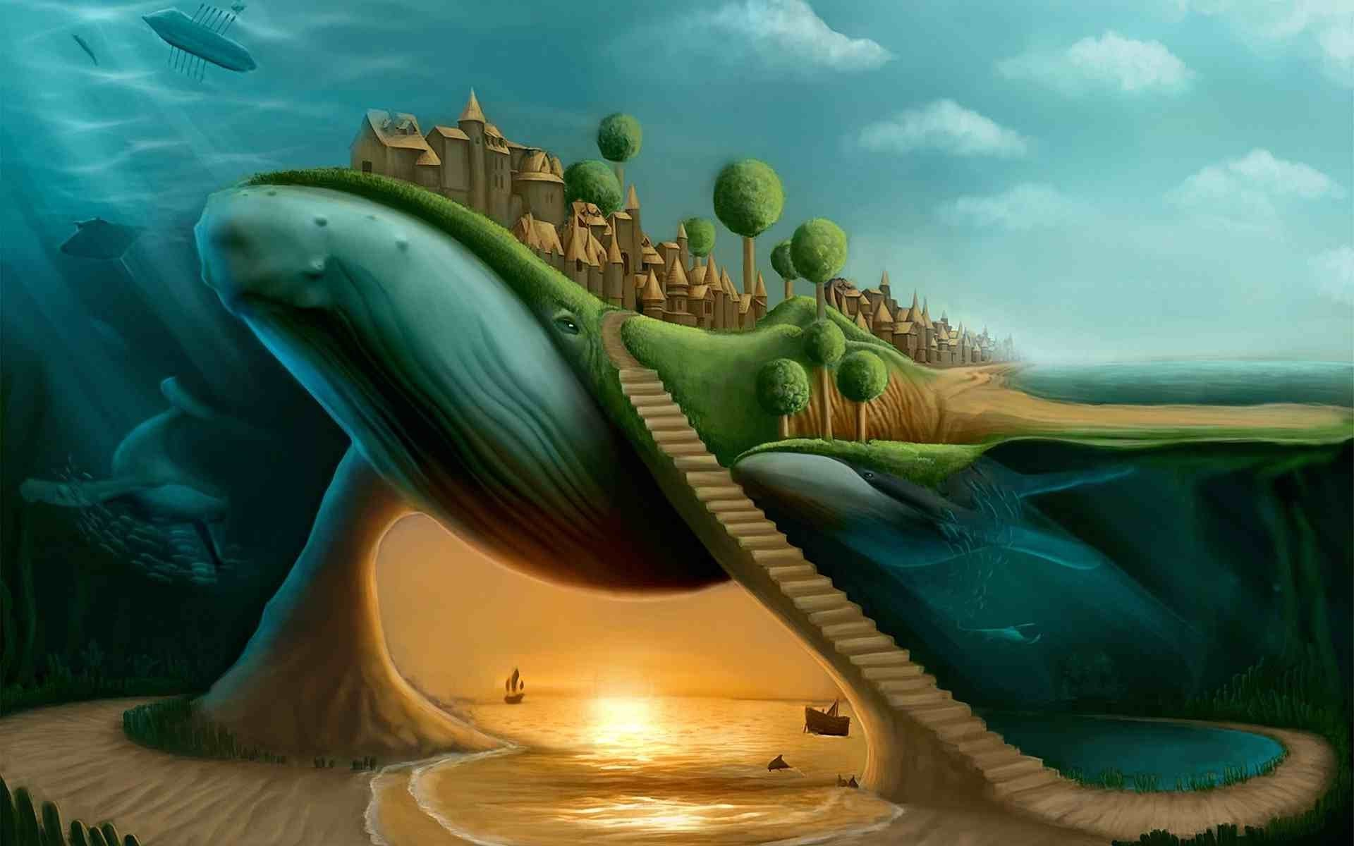 New 3d Wallpaper For Pc Surreal Whale Stairs Split View Wallpapers Hd Desktop