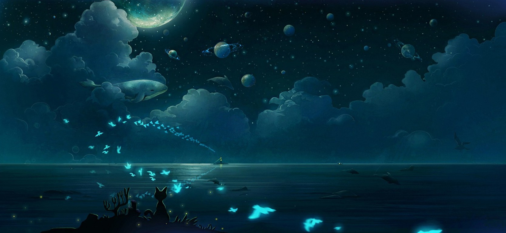Fish 3d Wallpaper Download Butterfly Clouds Night Moonlight Planet Whale Cat Fish