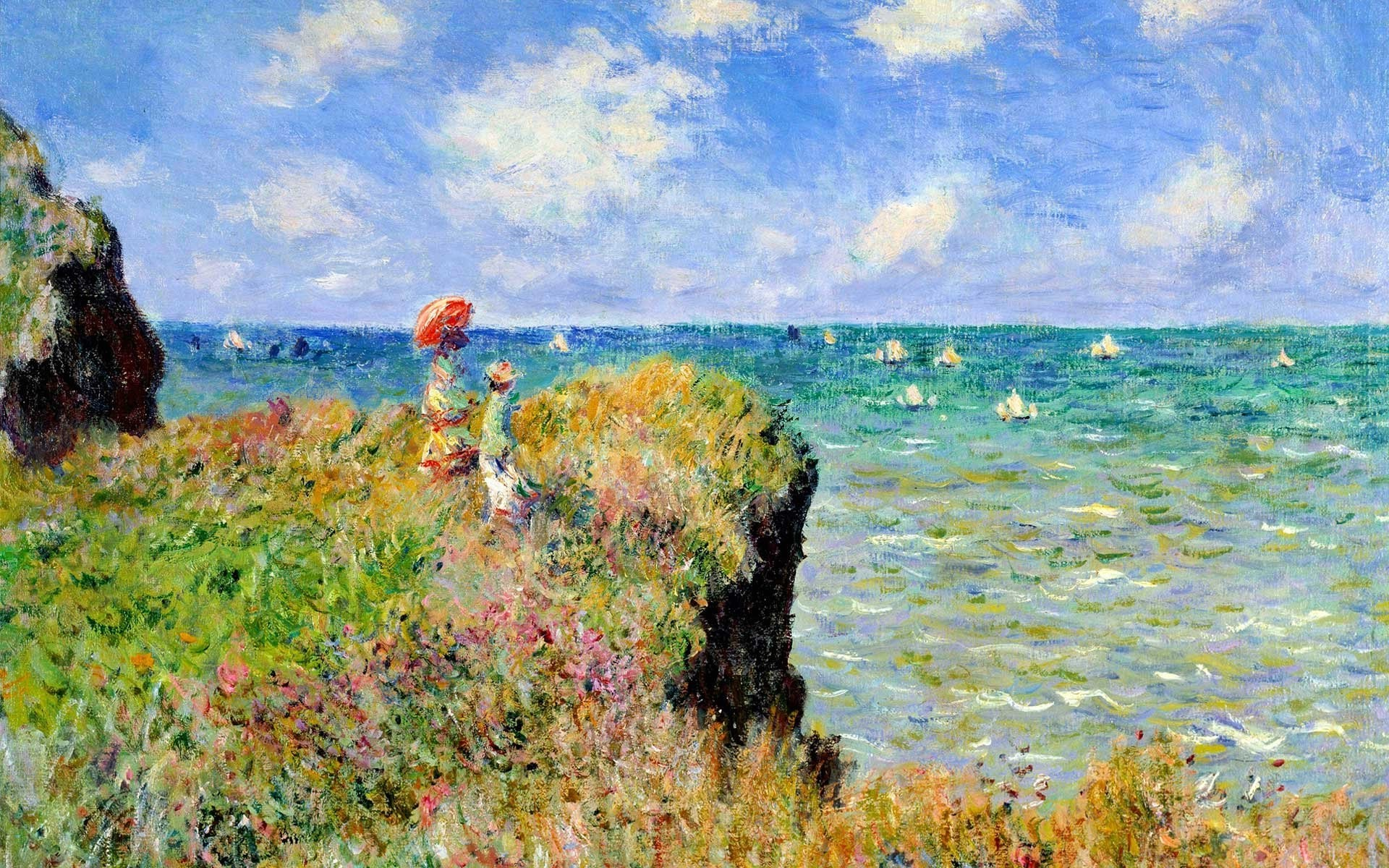 Claude Monet Cuadros Claude Monet Painting Sea Cliff France Parasol