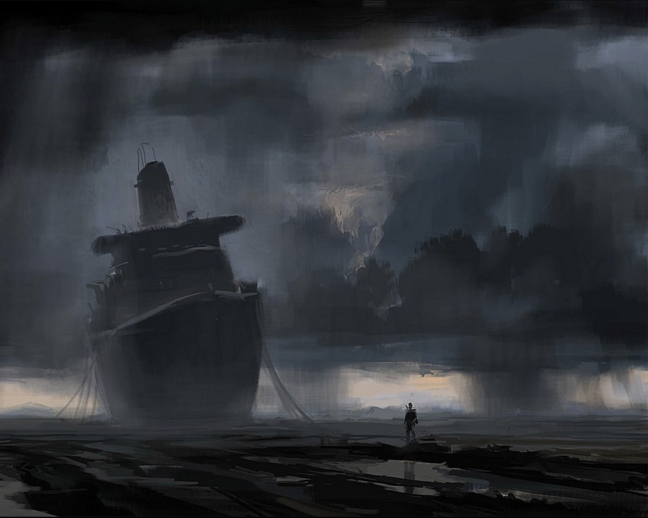 New 3d Wallpaper For Mobile Phone Clouds Rain Shipwreck Wallpapers Hd Desktop And Mobile