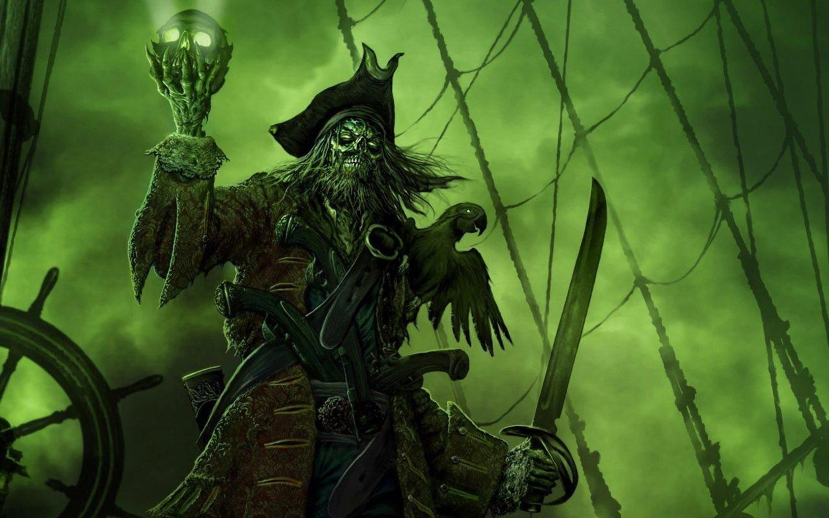 3d Ghost Wallpaper Download Sea Old Ship Pirates Green Spooky Wallpapers Hd