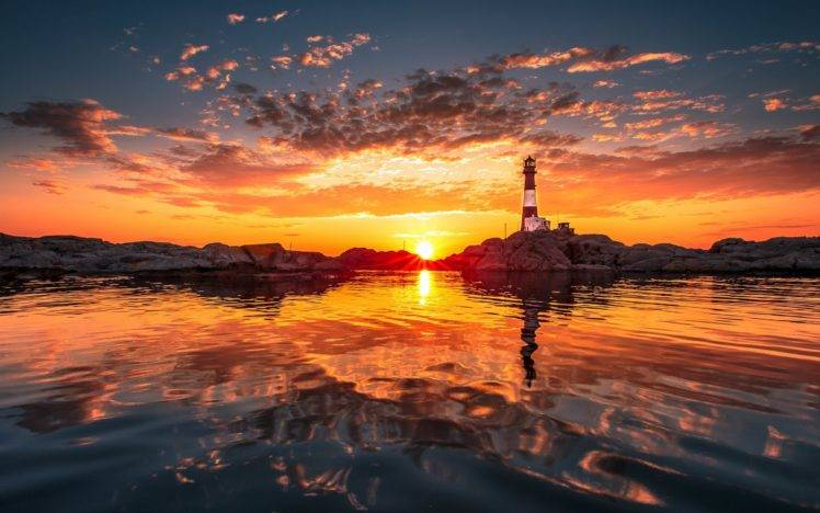 Full Hd Wallpaper For 5 Inch Screen Lighthouse Water Sunset Clouds Natural Lighting