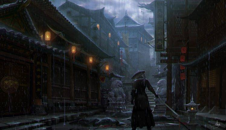 Cute Japanese Art 4k Wallpaper Imperial City Samurai Artwork Rain Wallpapers Hd