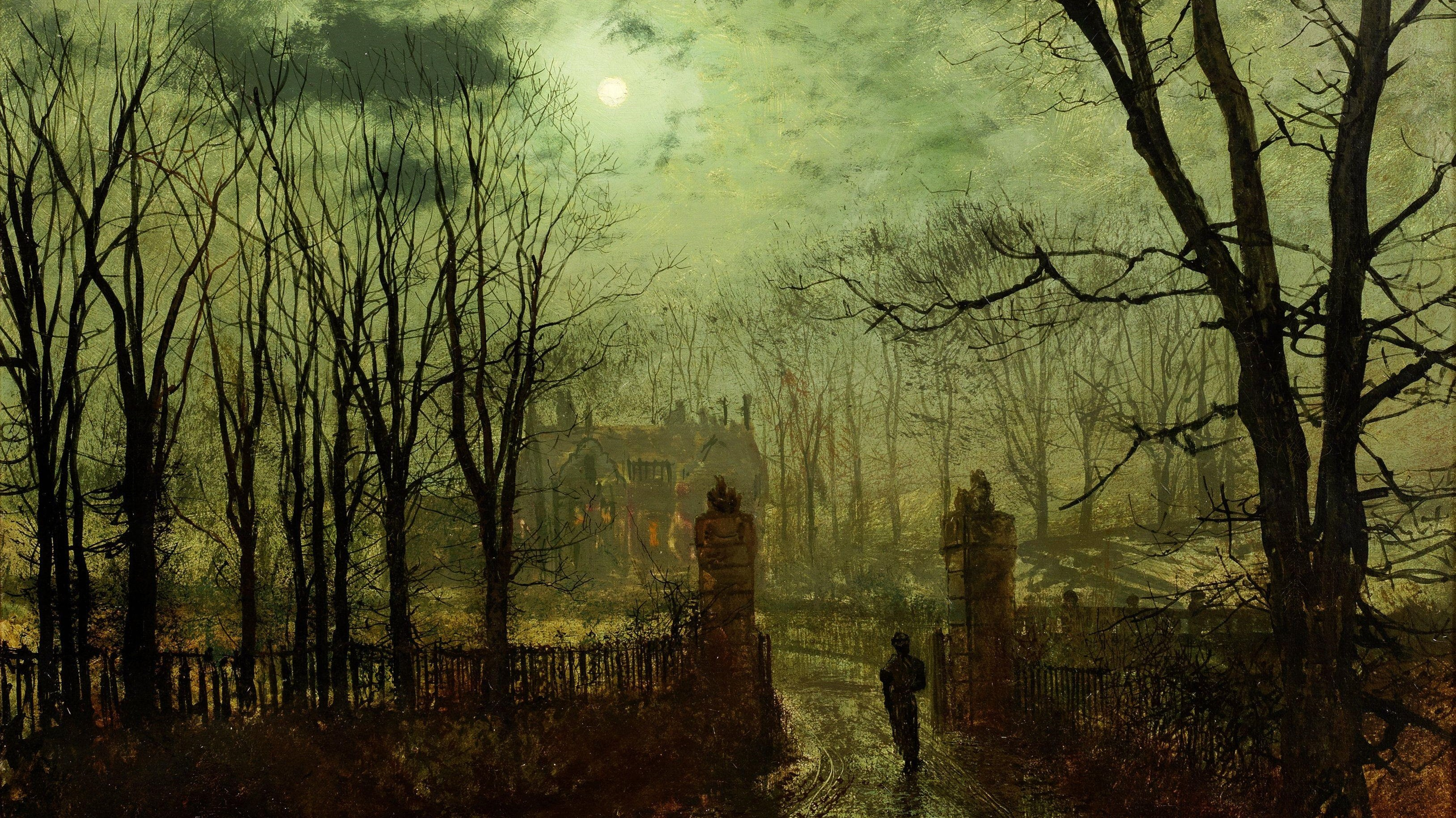 Hd Painting Wallpapers Download John Atkinson Grimshaw Classic Art Moon Night Painting