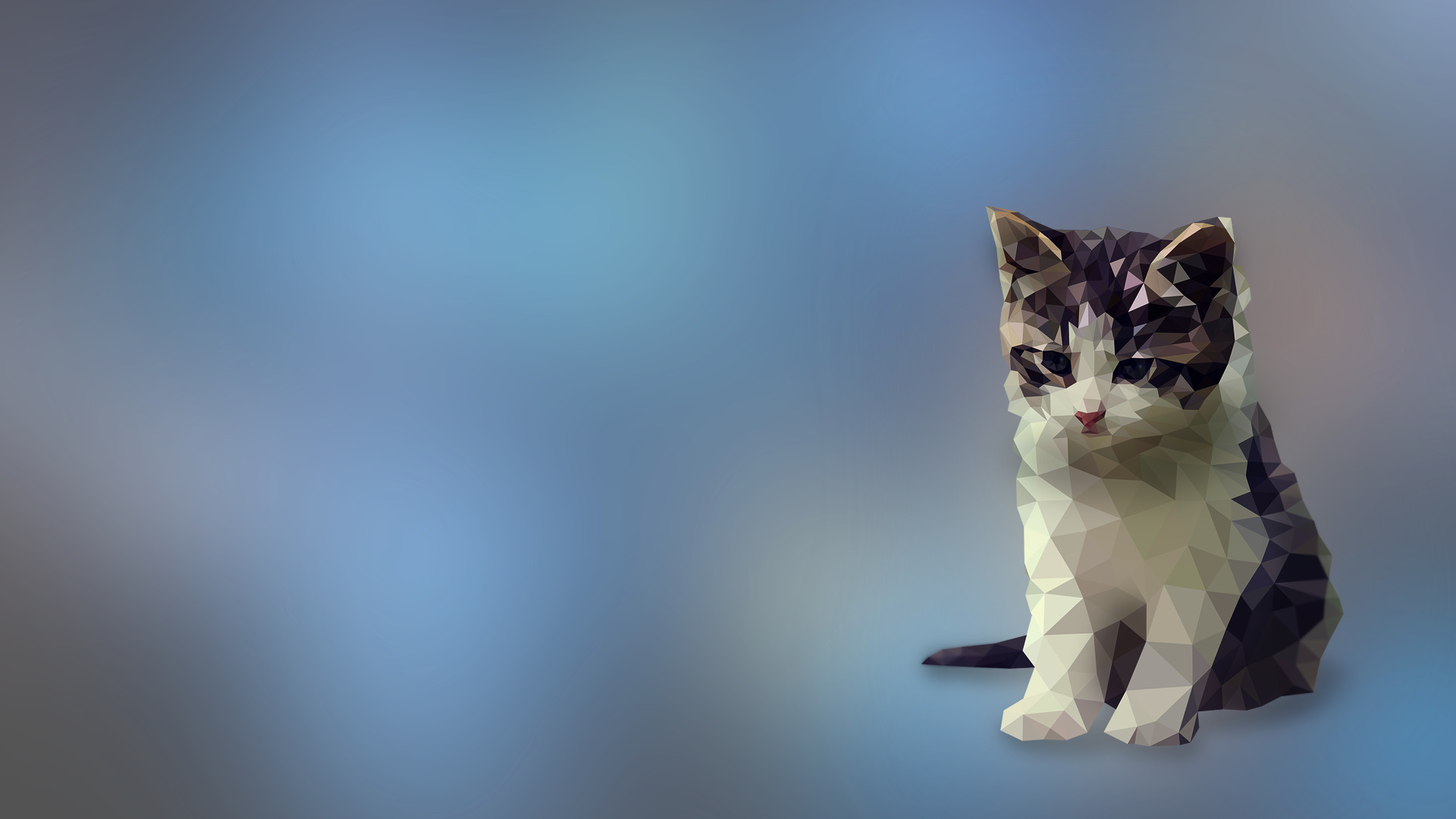 Cat Cute Wallpaper Download Digital Art Kittens Low Poly Cat Animals Wallpapers Hd