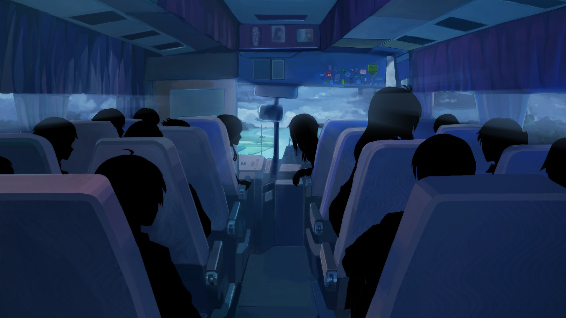 Fantasy Girl Wallpaper Full Hd Shadow Buses Clouds Everlasting Summer Anime People